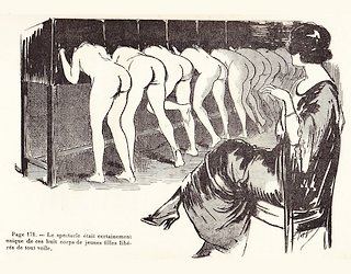 eight naked girls taking in a peep show while being watched by an older woman