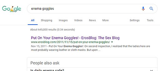 enema goggles number one result