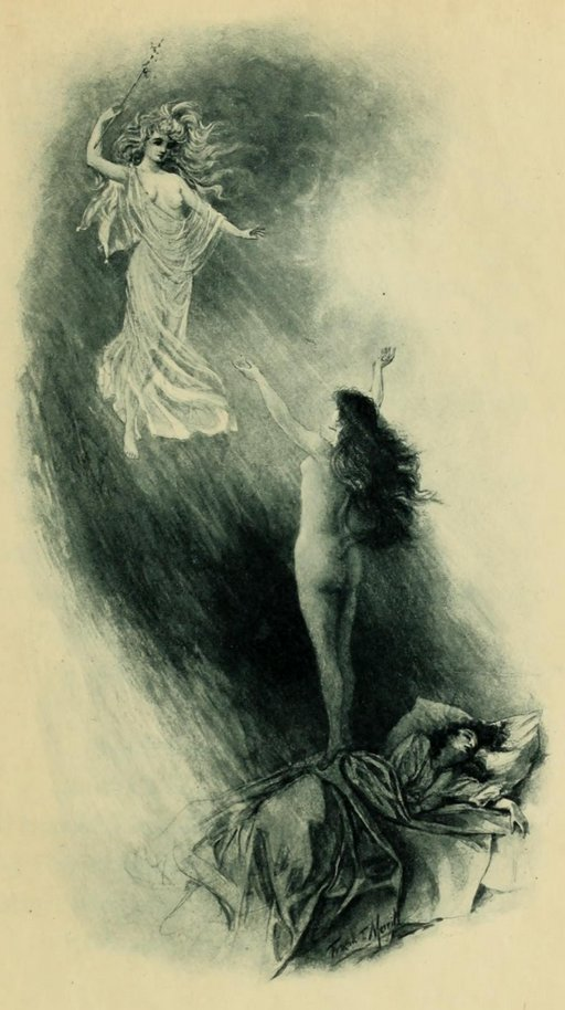 poetry illustration: bare-breasted queen mab descends to wake up a naked sleeping Ianthe