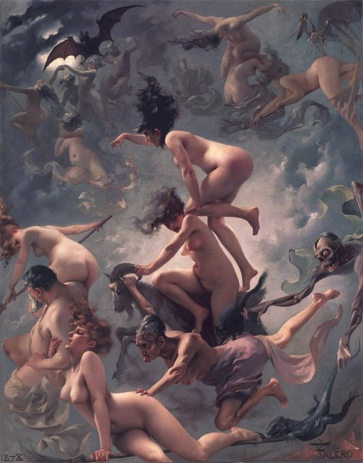 nude witches in flight on halloween night