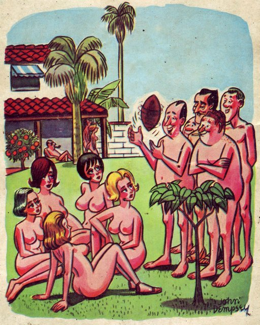 skeevy dudes at a nudist/naturist camp confronting some naked/nude women to ask if they want to play football or rugby