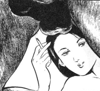 mistress menacing male bondage slave with cigarette to his balls
