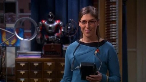 Mayim Bialik as Amy Farrah Fowler in her Star Trek starfleet uniform as she attempts to harvest Sheldon by providing him with perfectly-tailored fetish fuel