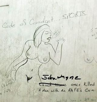 naked lady on a latrine wall