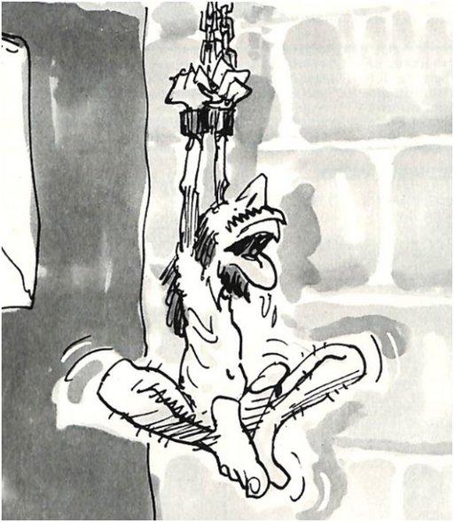 cartoon prisoner masturbates with his feet