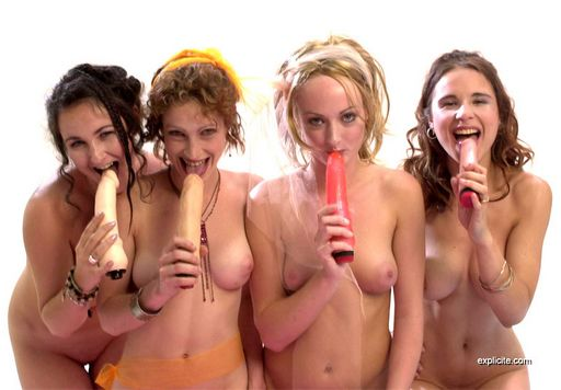 four happy nude lesbian women licking their dildos and getting ready to party