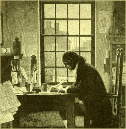 a researcher at his desk -- detail from  Franklin the Editor