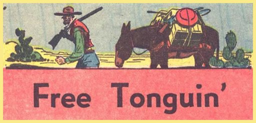 Free tonguing prospector leading his mule