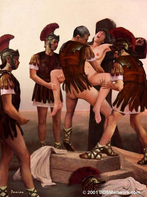 four Roman soldiers having bondage sex with a crucified woman