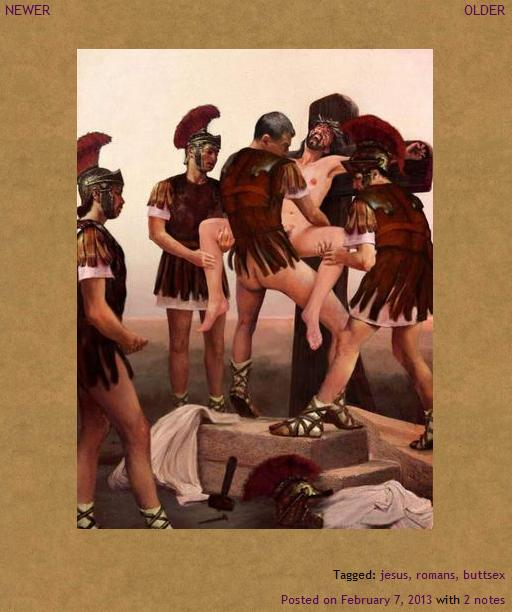 a screenshot of the tumblr page where I found Jesus getting butt sex from four Roman soldiers