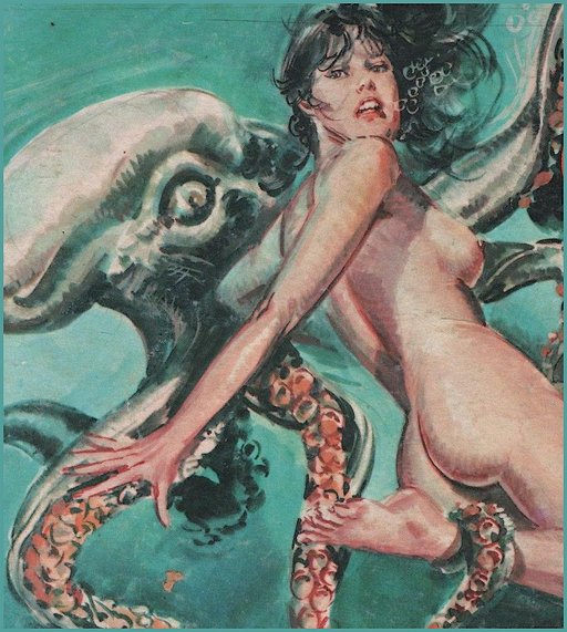 naked woman being dragged to her watery drowning death by a giant octopus or squid or sea monster