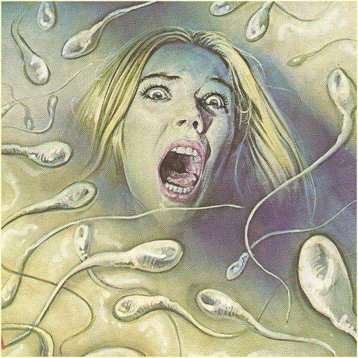 italian fumetti version of bukakke scene with giant spermatozoa