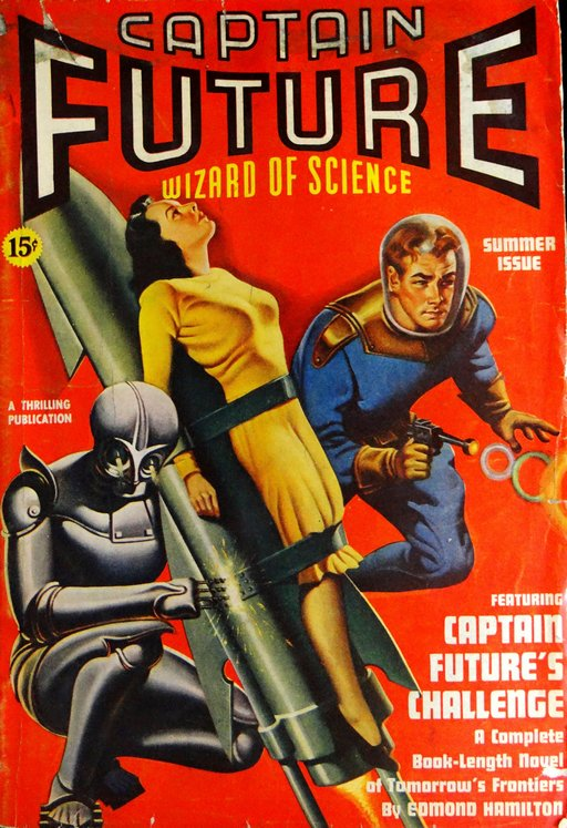 pulp cover woman strapped to a rocket