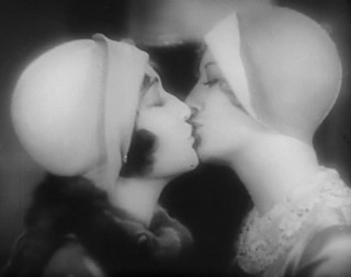 girls kissing on the silver screen