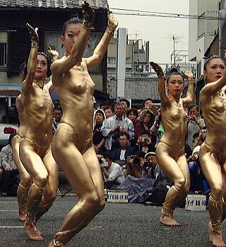 nude women in gold paint