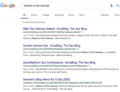 Google digital dementia search result