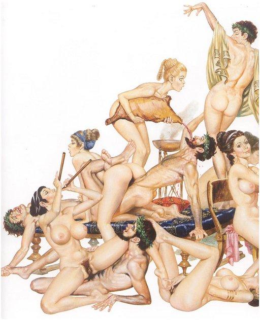 orgy scene with grecian theme