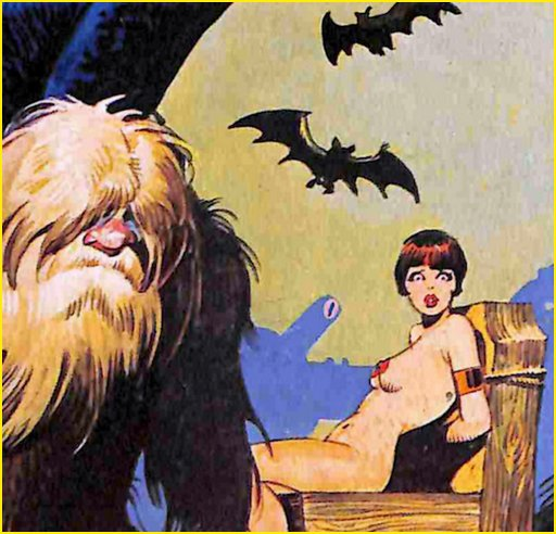 worried woman tied to a chair while vampire bats wheel in the sky and a furry yeti dude grumps in the foreground