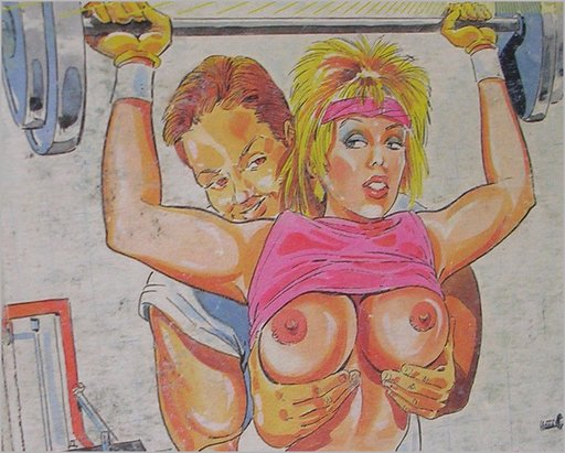 sleazy weight lifter has his hands on her boobs while she lifts heavy weights