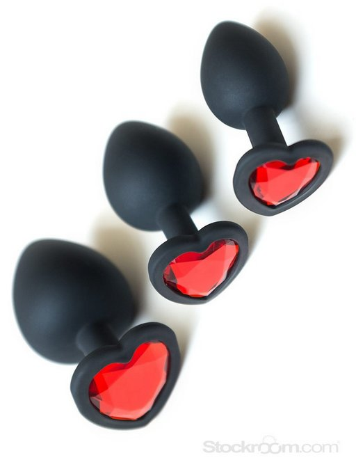 anal training silicone buttplugs with heart-shaped crystal bases