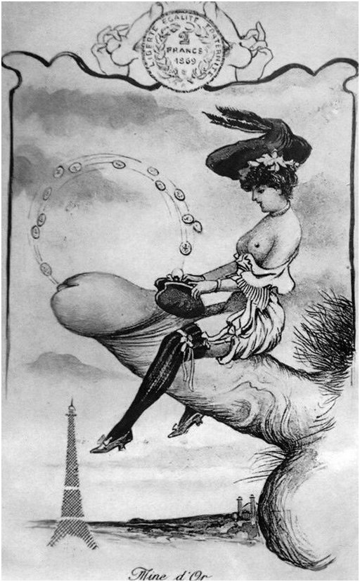 topless sex worker riding a flying penis through the skies over paris as semen flies out of the dick and into her purse as coins of gold