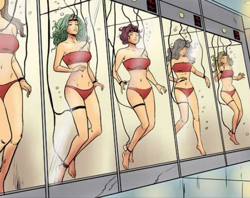 sci-fi slave girls in the suspended animation tanks