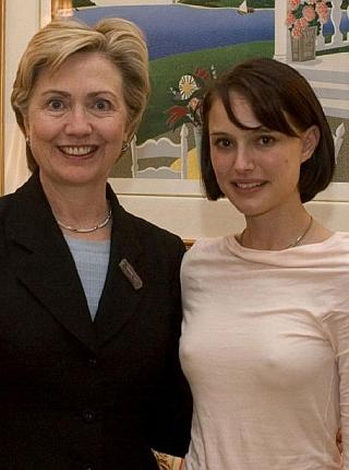 hillary clinton standing next to nipples