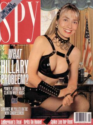 hillary in dominatrix costume on cover of Spy magazine
