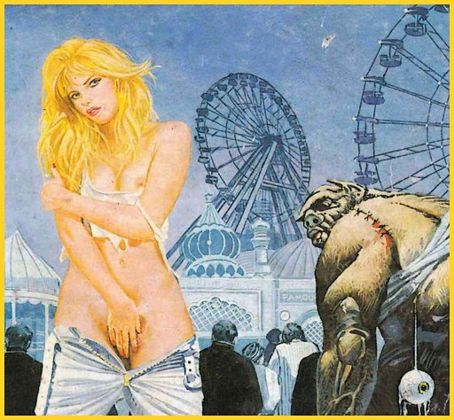 pretty blonde masturbating in public at a carnival amusement park science fiction fumetti cover
