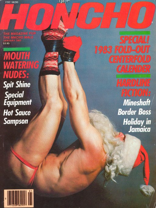 naked santa in bondage suspension on the cover of Honcho gay porn magazine