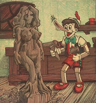 pinocchio carves him a woman