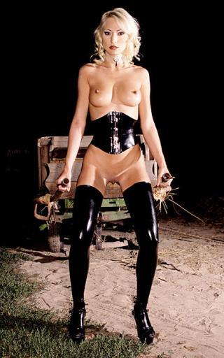 fetish farm girl toiling in sweaty latex