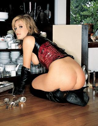 hot fetish scullery maid putting away the dishes