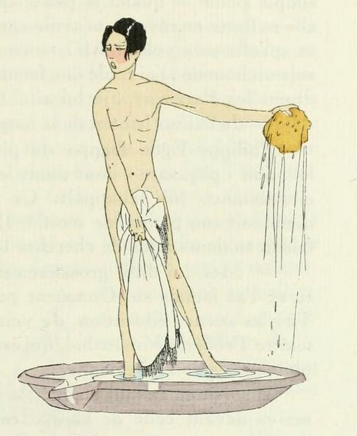 french illustration bather interrupted and blushing