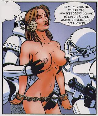 Princess Leia naked and chained by stormtroopers