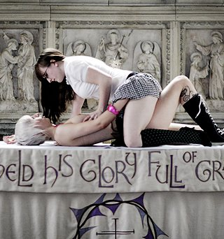lesbian sex on the altar