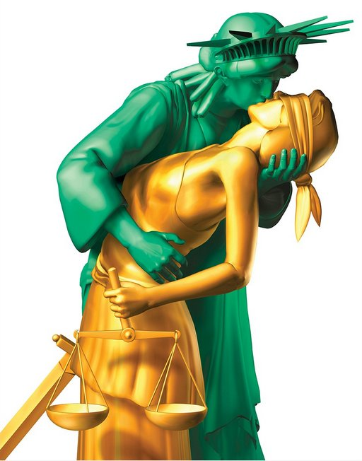 justice and liberty kissing