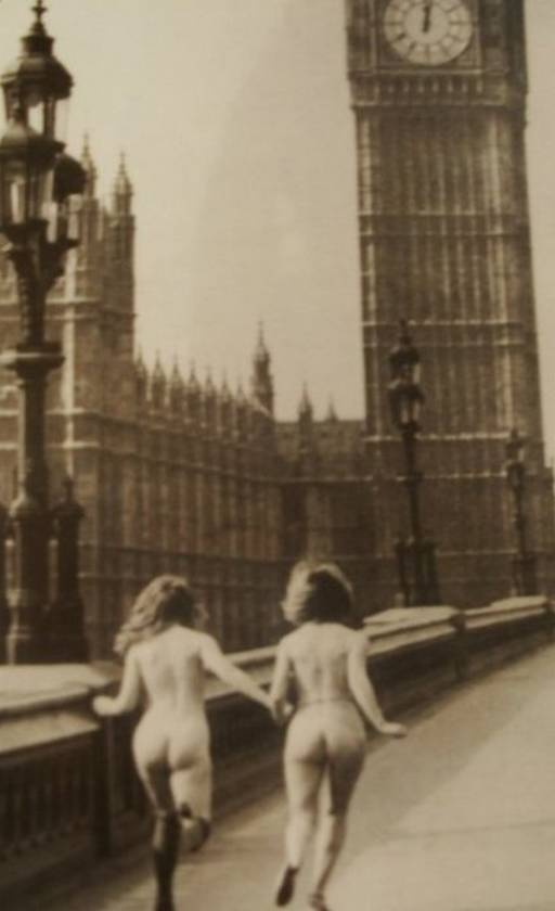 streaking in London near Big Ben tower clock