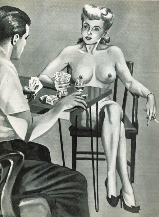a stylish woman who is losing badly at strip poker