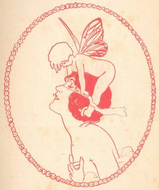 cupid blindfolding a woman