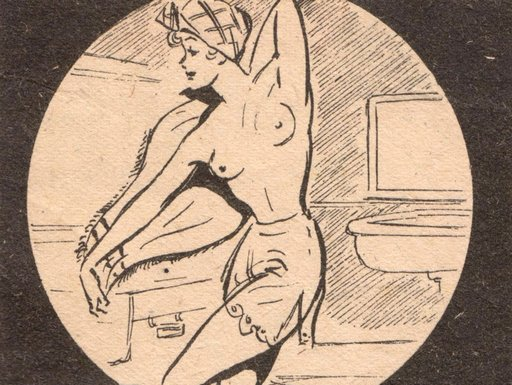 lulu comic panel: she takes a bath unaware of many spies