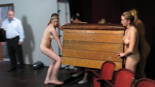 young women about to be caned over a vaulting horse in the school gymnasium are forced to set it up ... naked