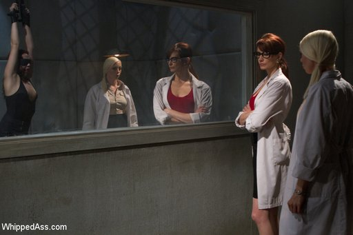 two female doctors in lab coats observing a patient in bondage in a padded cell