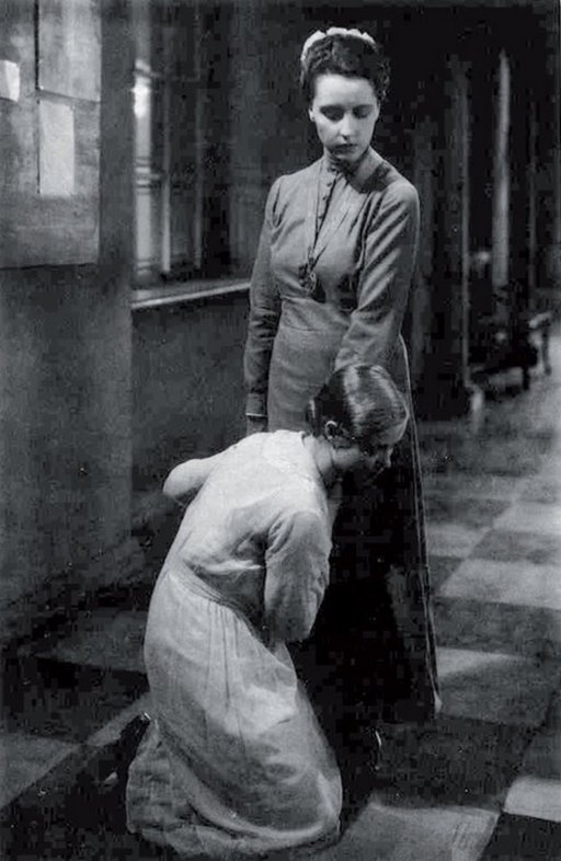kneeling in the hall at a german boarding school for girls