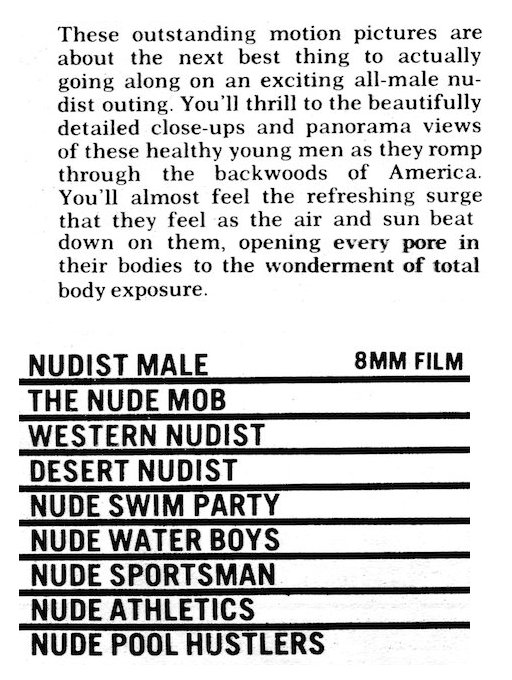 male nudist film loops of the late 1960s
