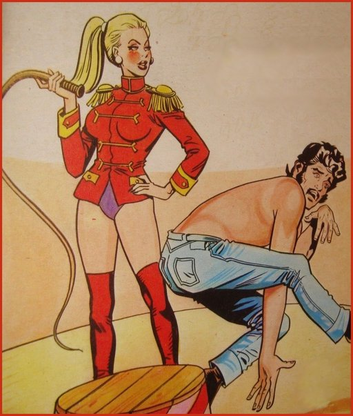 circus dominatrix with whip does a femdom act with hapless man in center ring