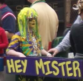 parade watcher at Mardi Gras