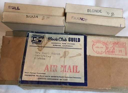 February 1957 box of 8mm dirty movies from movie club guild