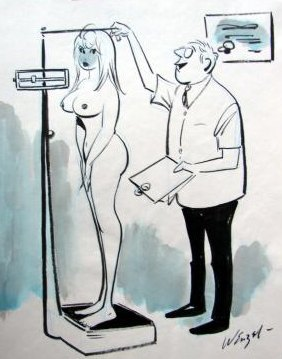 doctor weighing and measuring a naked woman