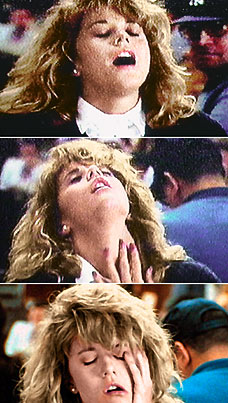 Meg Ryan faking an orgasm in the movie When Harry Met Sally